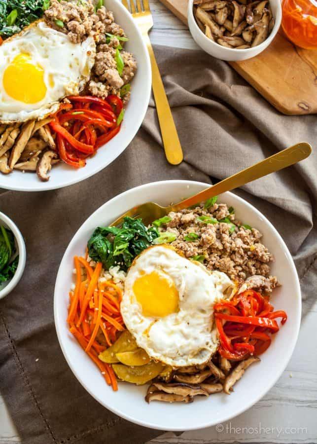 Paleo Bibimbap   Ground Pork Bulgogi + Cauliflower Rice   The Noshery
