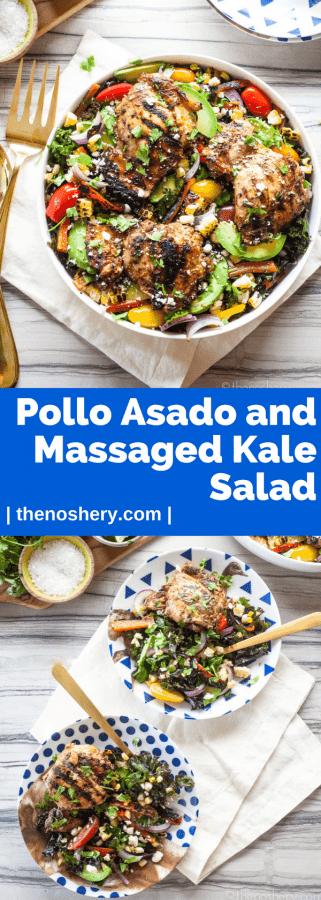Pollo Asado and Massaged Kale Salad | A salad loaded with delicious charred vegetables and topped with pollo asado. It's a salad full of smokey flavor and bright citrus notes. | The Noshery