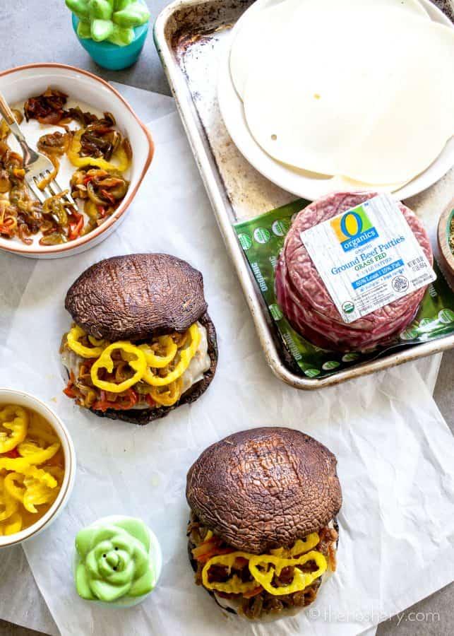 Portobello Philly Cheese Burger | The Noshery