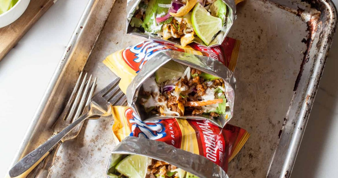 Walking Tacos with Chorizo and Tangy Slaw