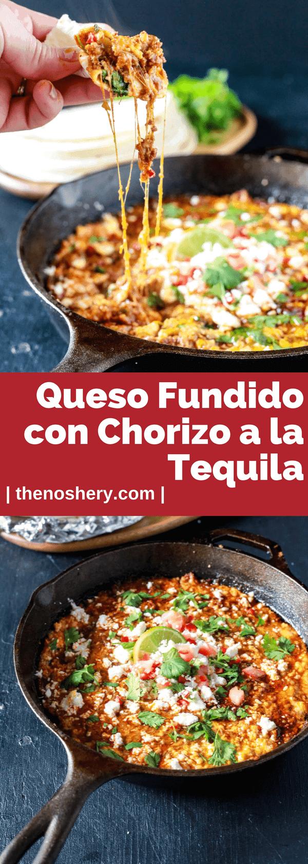 Queso Fundido Con Chorizo a la Tequila