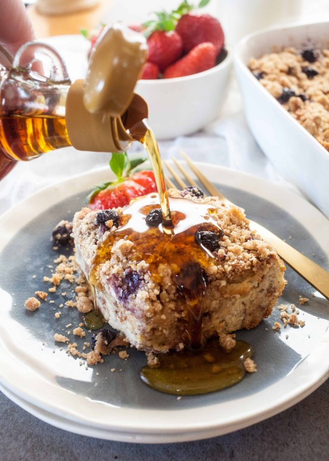Blueberry Cinnamon Crumb Baked French Toast | The Noshery