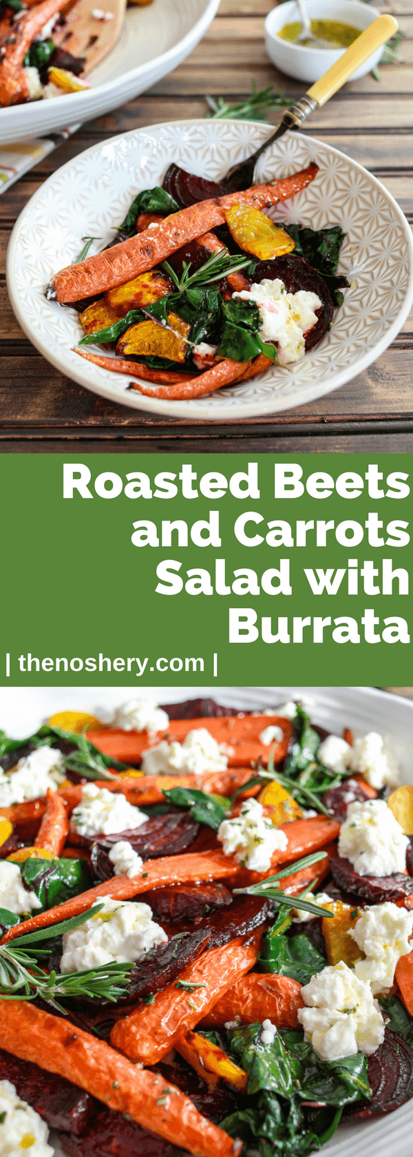 Roasted Beets and Carrots Salad with Burrata | Roasted beets and carrots with sautéed beet greens tossed with honey rosemary vinaigrette and topped with burrata. A perfect fall vegetable side dish. | The Noshery