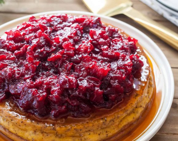 Chai Spiced Orange Flan with Cranberry Compote