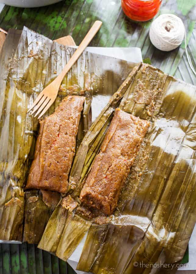 "Pasteles de Masa con Cerdo (Puerto Rican Taro Root & Plantain Pork Pockets) | Pasteles are a delicious traditional dish served in Puerto Rican during Christmas. Pasteles are seasoned taro root and plantain ""masa"", filled with savory pork, wrapped in banana leaves and boiled. 