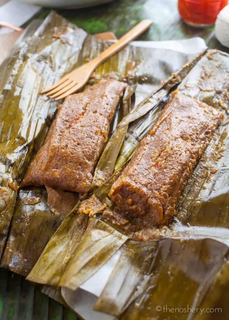 Pasteles de Masa con Cerdo (Puerto Rican Taro Root & Plantain Pork Pockets)