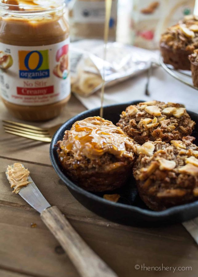 Banana NutProtein Baked Oatmeal Cups | Thesebaked oatmeal cups are tender, nutty, sweet, and packed with protein. Just warm them for eight to ten seconds in the microwave and enjoy. | The Noshery