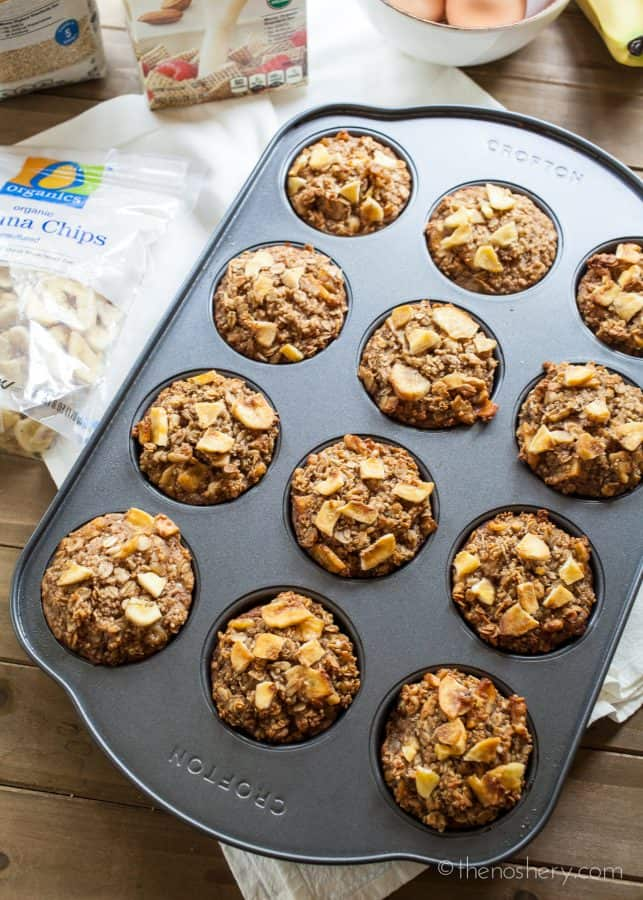 Banana Nut Protein Baked Oatmeal Cups | These baked oatmeal cups are tender, nutty, sweet, and packed with protein. Just warm them for eight to ten seconds in the microwave and enjoy. | The Noshery