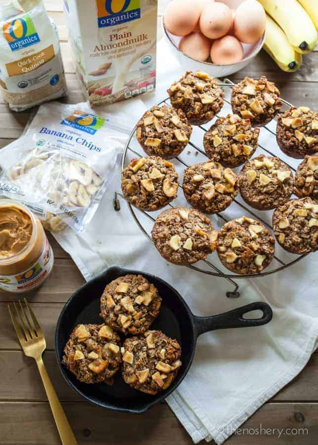 Banana NutProtein Baked Oatmeal Cups | Thesebaked oatmeal cups are tender, nutty, sweet, and packed with protein. Just warm them for eight to ten seconds in the microwave and enjoy.| The Noshery