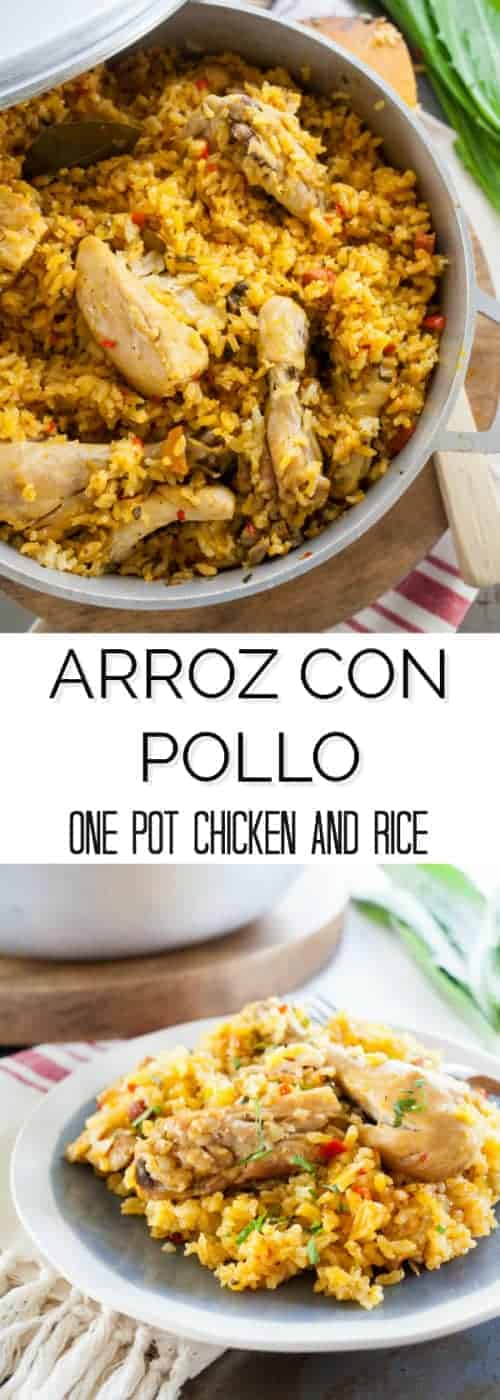 Arroz con pollo is classic Puerto Rican comfort food. It's a one pot wonder where the chicken is cooked in the rice making it a quick and easy dish that adults and kids love. | The Noshery