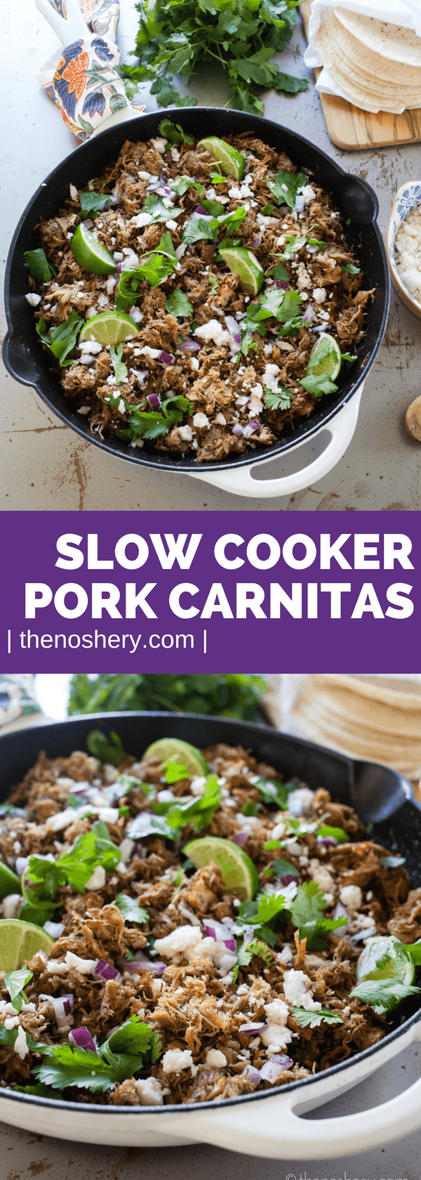 Slow Cooker Pork Carnitas | Make taco night a special night! Ditch the ground beef with the taco seasoning and try these easy and flavorful slow cooker carnitas tacos. | The Noshery