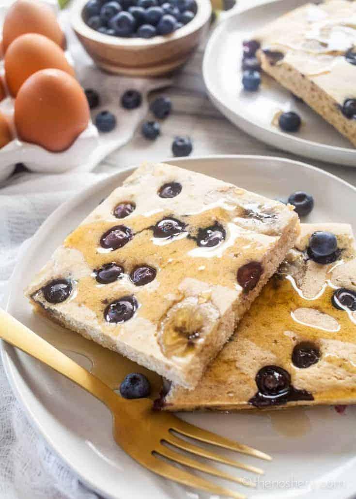 Whole Wheat Blueberry Banana Sheet Pan Pancakes