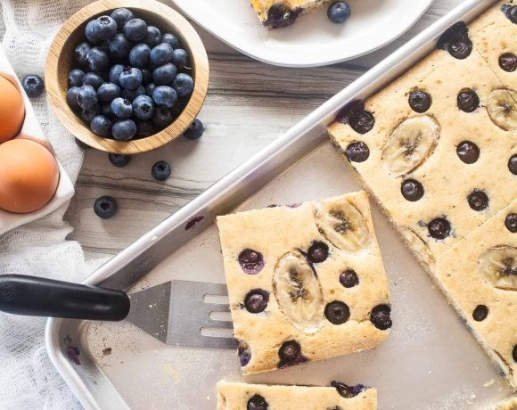 Fluffy Whole Wheat Blueberry Banana Sheet Pan Pancakes