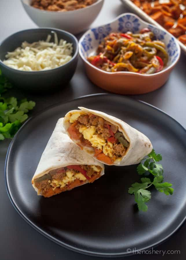 Breakfast Burrito Recipe with Turkey Chorizo and Sweet Potatoes + How to Freeze Breakfast Burritos| The Noshery