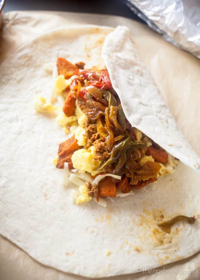Breakfast Burrito Recipe with Turkey Chorizo and Sweet Potatoes + How to Freeze Breakfast Burritos | The Noshery