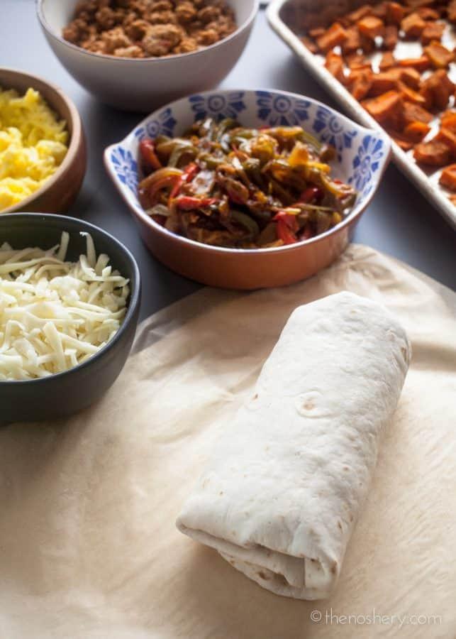 Freezer Breakfast Burritos with Turkey Chorizo and Sweet Potatoes | The Noshery