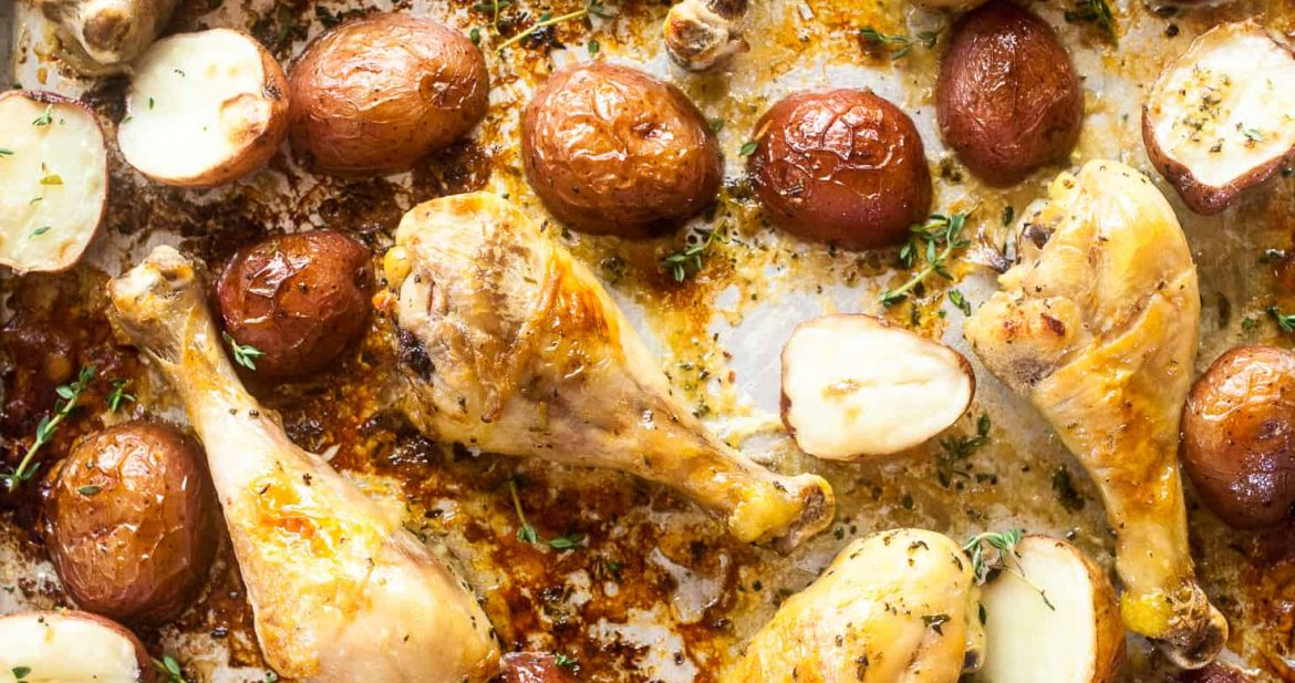 Baked Chicken Legs and Potatoes with Lemon and Herb