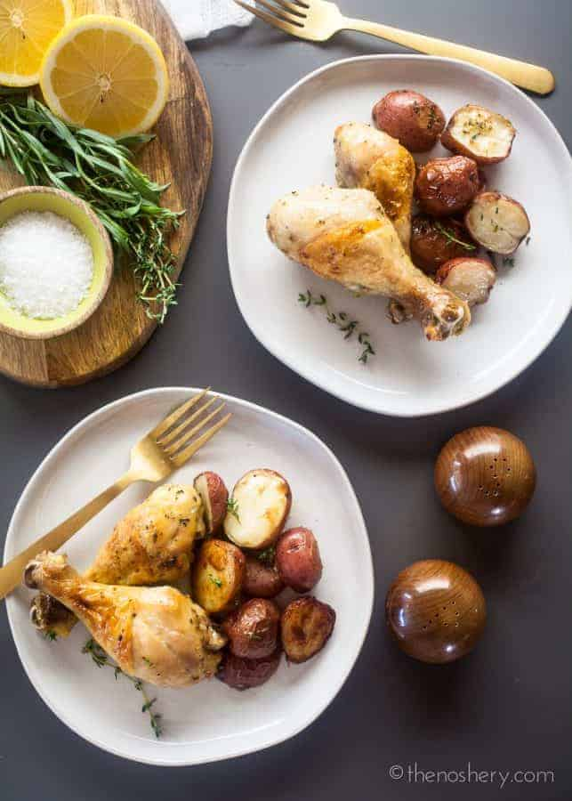 Baked Chicken Legs and Potatoes with Lemon and Herb | The Noshery