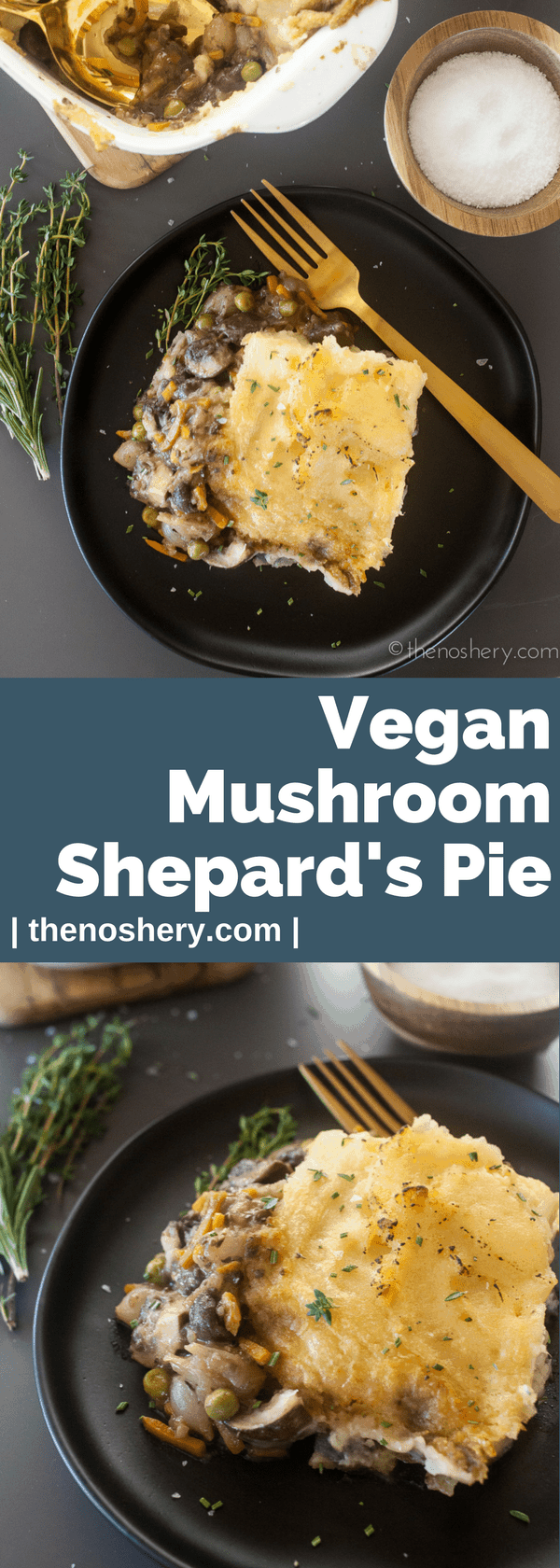 Mushroom Shepherd's Pie | This vegan mushroom shepherd's pie had all the comfort of a traditional shepherd's pie. It's loaded with meaty mushrooms, carrots, onions, and peas in savory gravy. This pie will be loved by all! | The Noshery