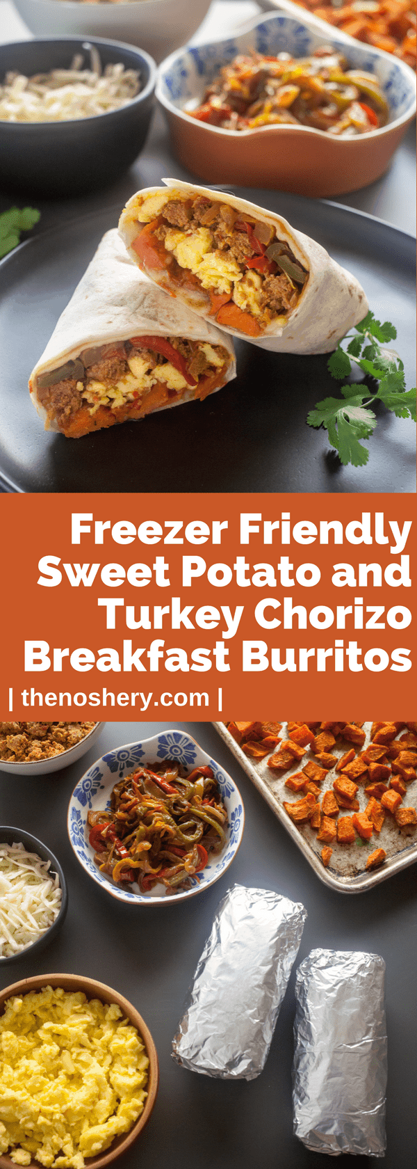 Swet Potato & Turkey Chorizo Breakfast Burritos | Filling breakfast burritos with roasted sweet potatoes, eggs, cheese, and turkey chorizo. Make these over the weekend and be ready for the week ahead. | The Noshery