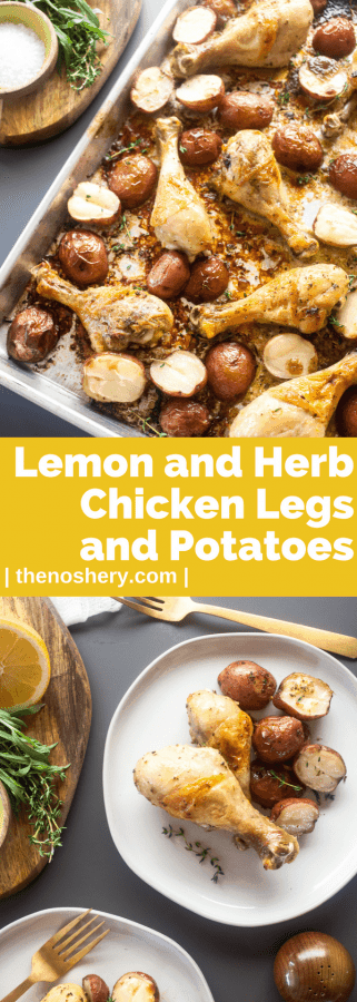 Roasted Chicken Legs with Potatoes with Lemon and Herb | The Noshery