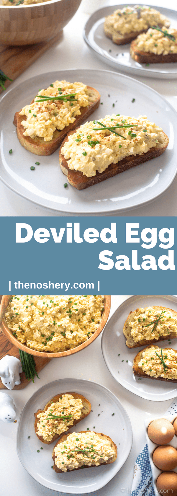 Deviled Egg Salad | Enjoy this creamy deviled egg salad on toast, with crackers, crispy vegetables, or as a sandwich. All that matters is that you make it and eat it! | The Noshery