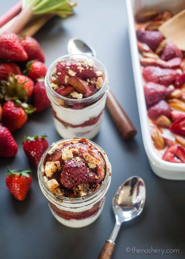 Roasted Balsamic Rhubarb and Strawberry Yogurt Parfaits | The Noshery