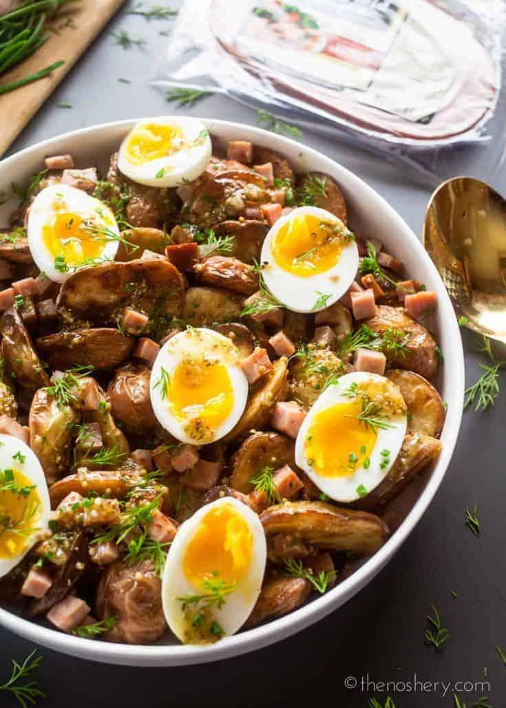 Ham and Egg Roasted Potato Salad with Mustard Vinaigrette
