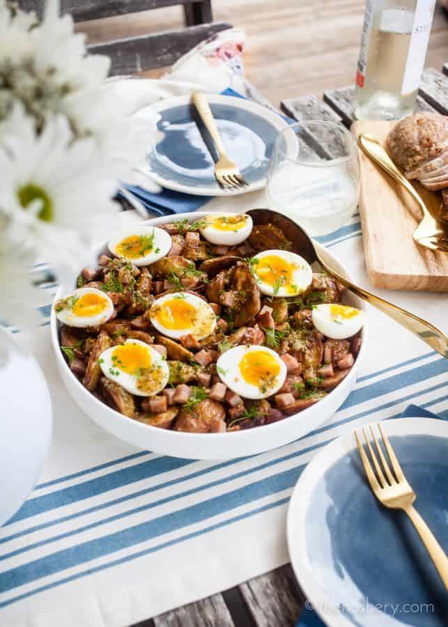 Ham & Egg Roasted Potato Salad and Mustard Vinaigrette | The Noshery