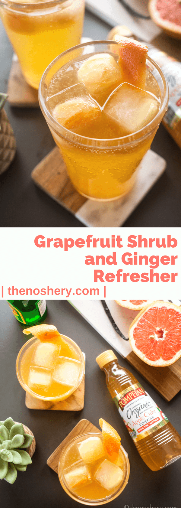 Grapefruit Shrub and Ginger Refresher | A grapefruit shrub made with apple cider vinegar is a great source of healthy bacteria, antioxidants, and vitamin C. Mix with ginger beer over ice and you have a perfect summer refresher. | The Noshery