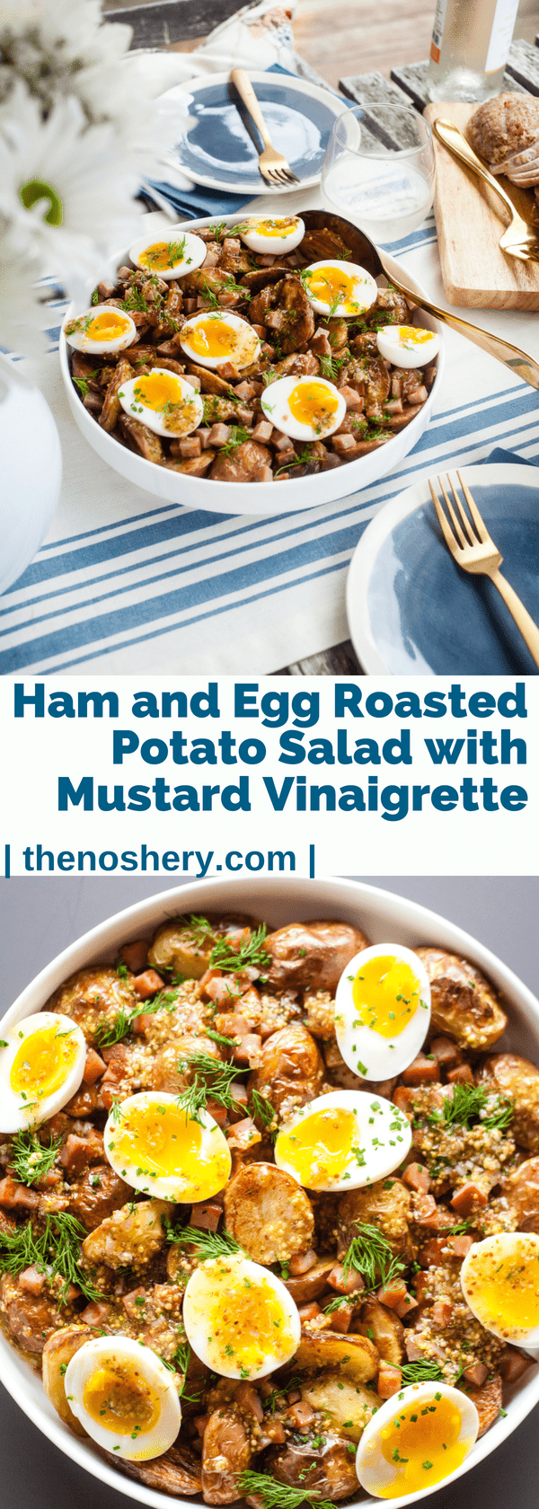 "Ham and Egg Roasted Potato Salad | This isn't your typical ""boiled potato and mayonnaise"" potato salad. The roasted potatoes give this salad little more texture. Then they are then topped with diced smoked ham, soft boiled eggs, whole grain mustard vinaigrette, dill, and chives. 