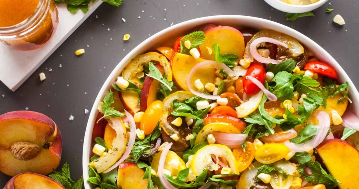Candied Lemon Peach and Tomato Salad