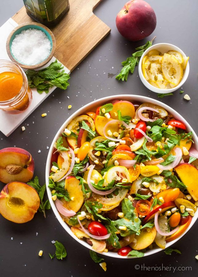 Candied Lemon Peach and Tomato Salad | The Noshery