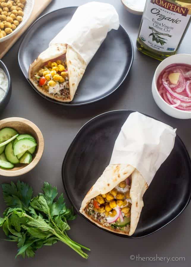 Curried Roasted Chickpeas & Quinoa Tabouleh Pita Wraps | The Noshery