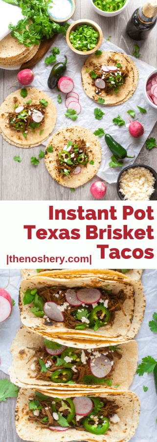 Instant Post Texas Brisket Tacos | Tender Texas brisket prepared in half the time in with a pressure cooker. Loaded with sweet, spicy, & smokey flavors. Perfect for an easy weeknight dinner. | The Noshery