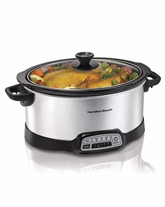 Hamilton Beach (33473) Slow Cooker, Programmable, 7 Quart, Silver