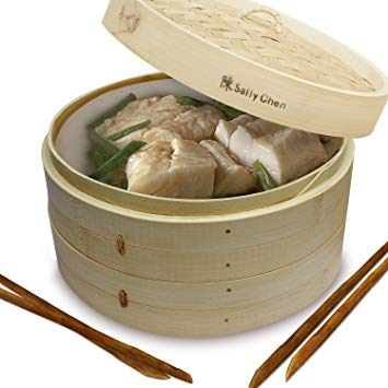 Bamboo Oriental Gyoza Steamer 10 Inch with BONUS two Pairs Chopsticks, Premium Chinese Food Steaming Basket, 2 Tier for Vegetables and More by Sally Chen