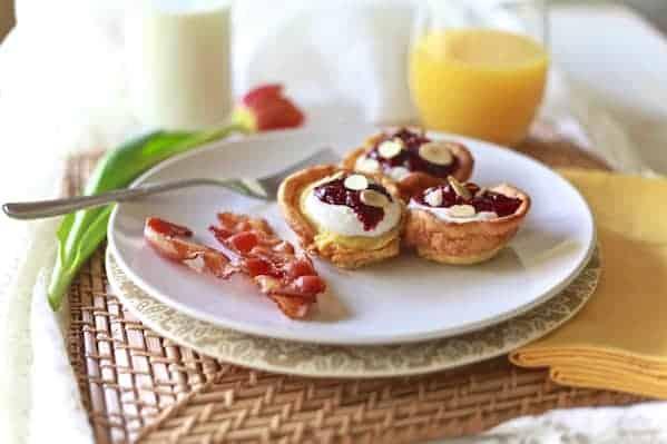 Dutch Pancakes with Cherries & Almond Ricotta Mousse