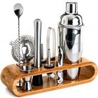 Mixology Bartender Kit: 10-Piece Bar Tool Set with Stylish Bamboo Stand - Perfect Home Bartending Kit and Cocktail Shaker Set For an Awesome Drink Mixing Experience