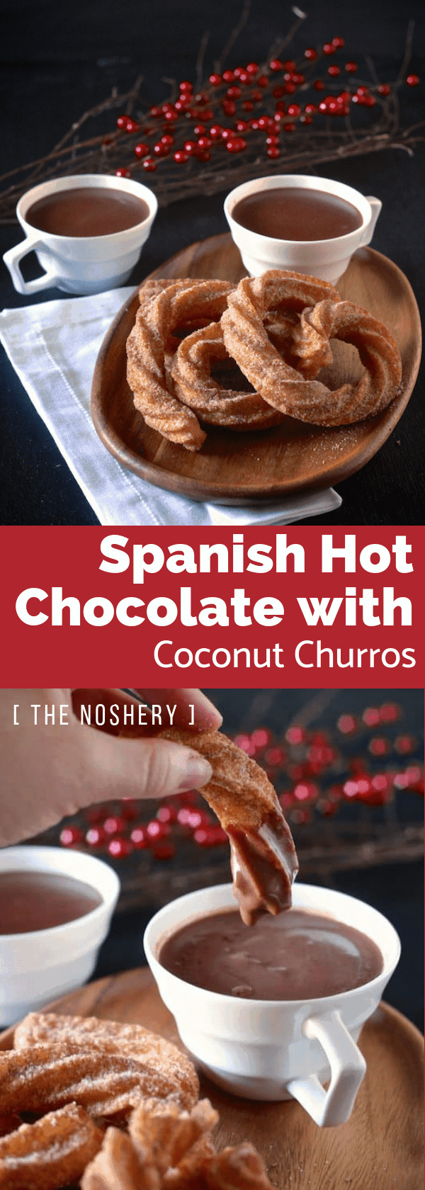Spanish Hot Chocolate with Coconut Churros | Hot chocolate made with bittersweet chocolate served as a thick and creamy drink. It coats your churros when it's dipped, but still thin enough to drink. | The Noshery