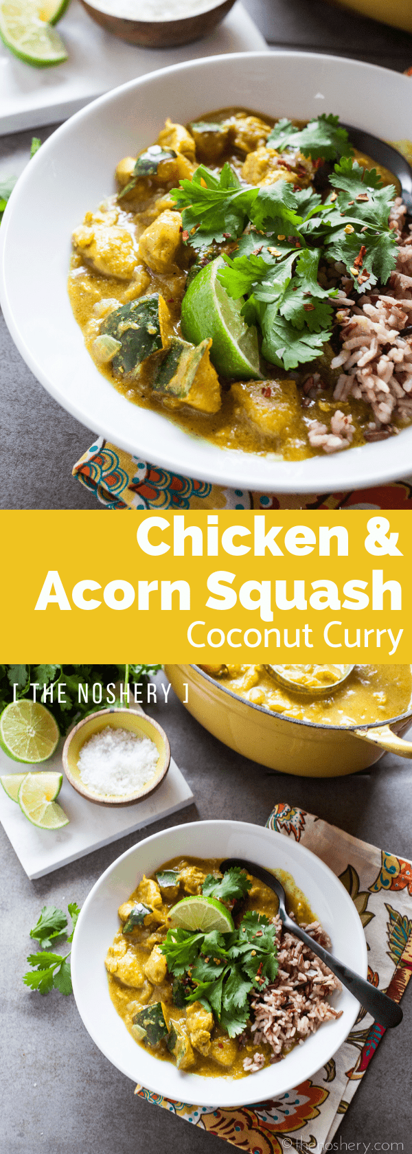 Chicken and Acorn Squash Coconut Curry | This curry is fabulous on the first day and even better on the second day. Enjoy it by itself or served over rice or cauliflower rice. | The Noshery