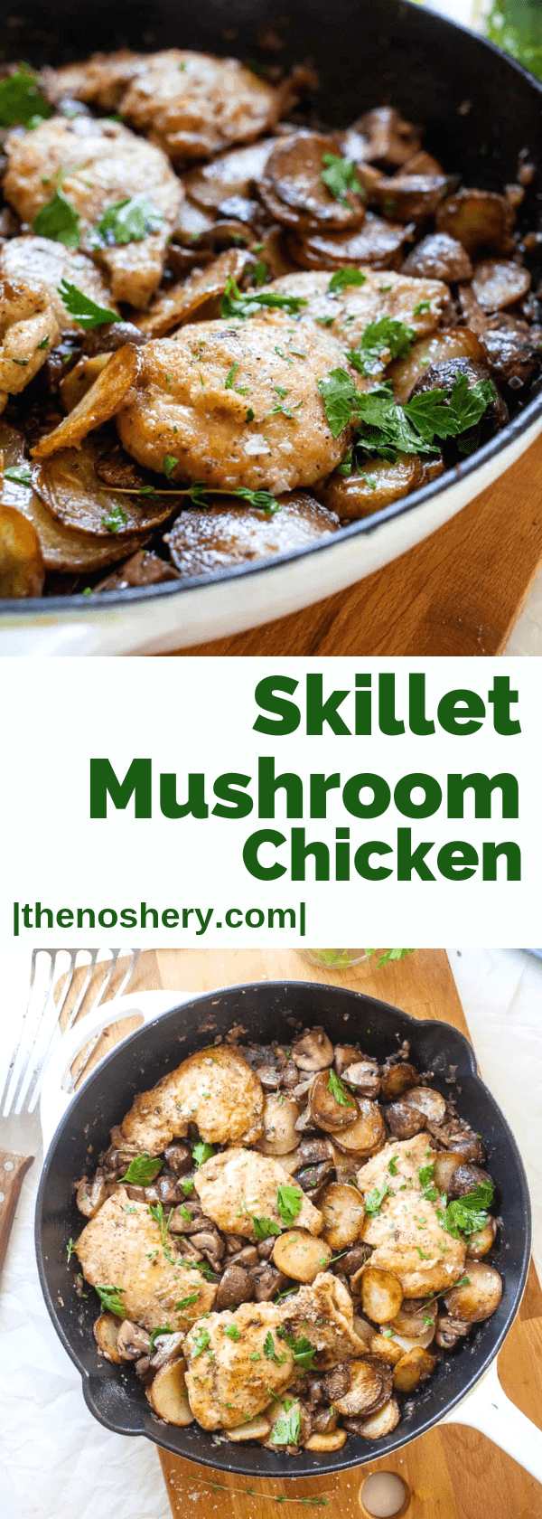 Skillet Mushroom Chicken | Mushroom chicken is a classic dish. But a one-skillet dish of chicken, mushrooms, and potatoes in a creamy wine sauce makes this a complete meal. | The Noshery