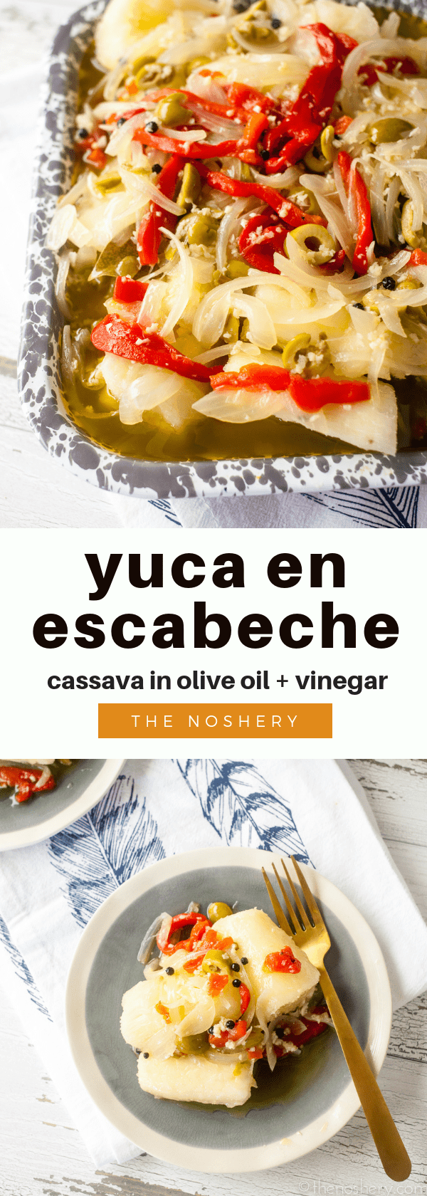Yuca en Escabeche | Boiled yuca marinades in an olive oil and vinegar sauce with onions, red peppers, and olives. The result is a light refreshing flavor that is still filling and comforting. | The Noshery