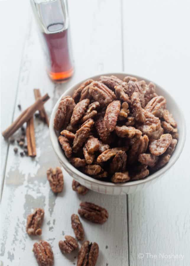 5-minute Spiced Candied Pecans | The Noshery