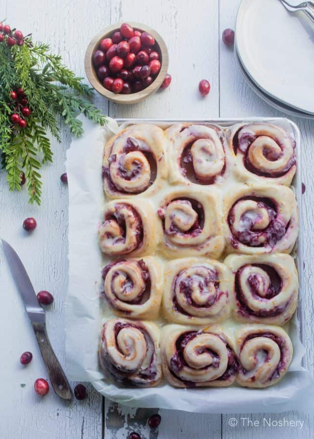 Cranberry Sweet Bread Rolls with Orange Icing | The Noshery