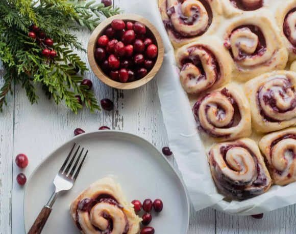 Cranberry Sweet Bread Rolls with Orange Icing