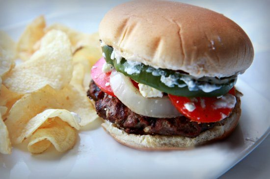 Lamb Burger with Feta Cheese & Yogurt Sauce