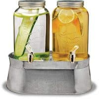 Circleware 92022 Double Mini Mason Jar Glass Beverage Dispensers with Stand Bucket