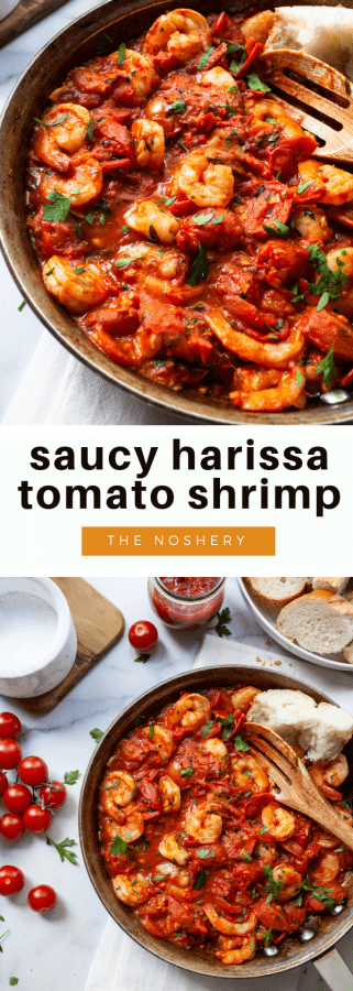 Saucy Harissa Tomato Shrimp | If you like food that is saucy, spicy and takes 20 minutes to make you will love this skillet. Large shrimp are sautéd in a harissa spiced tomato sauce and served with crusty bread. This harissa and tomato shrimp is also great to toss in pasta or served over polenta. | The Noshery