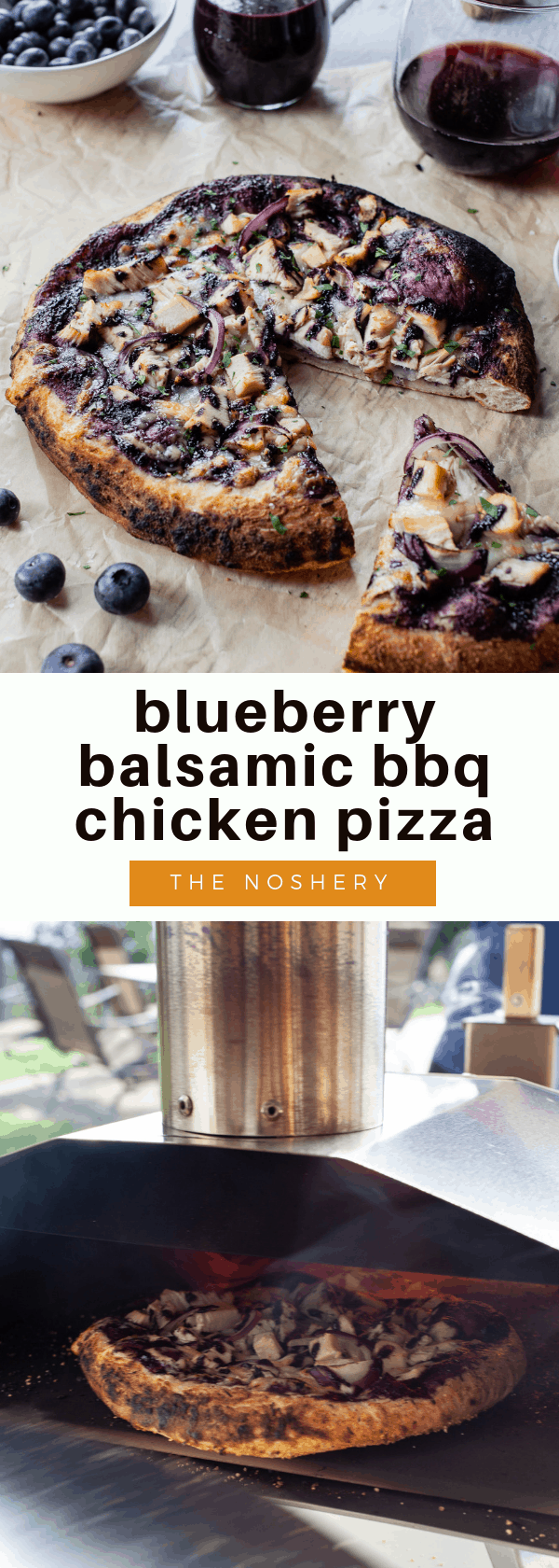 Blueberry Balsamic BBQ Chicken Pizza | A twist on the favorite bbq chicken pizza. The bbq sauce is made with a classic pairing, blueberries and balsamic vinegar. | The Noshery